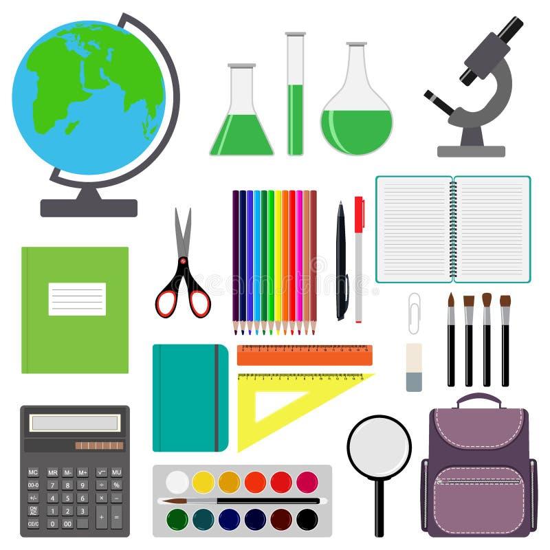 回到设计学校 套学校用品 线,多角形,剪,笔记本,笔,铅笔,橡皮擦,刷子,书包,计算器 向量例证