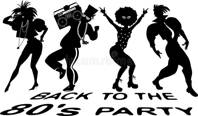 回到20世纪80年代舞会 库存例证