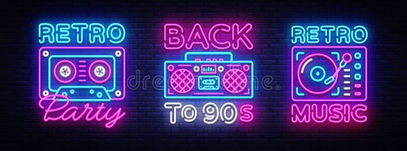 回到90s霓虹海报收藏、卡片或者邀请,设计模板 减速火箭的录音机卡式磁带霓虹灯广告 皇族释放例证