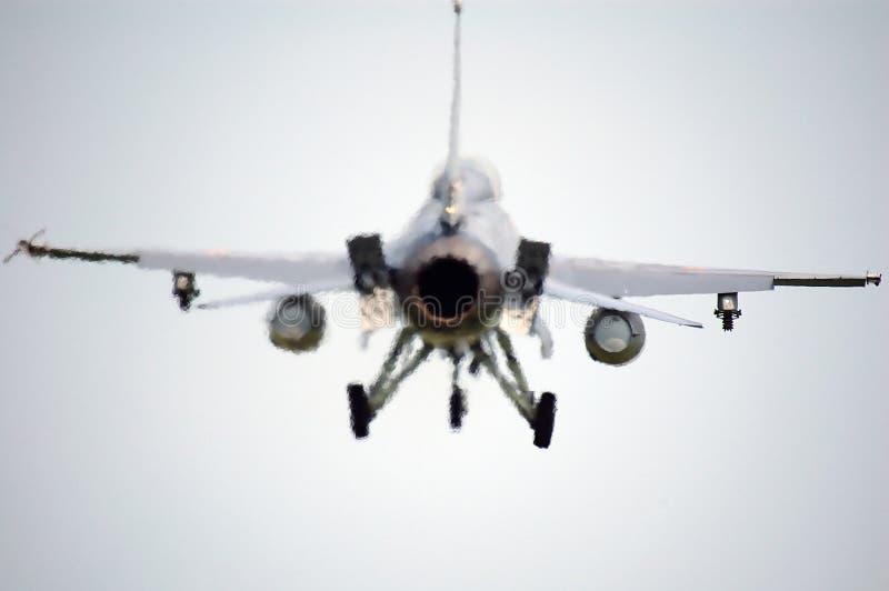 回到F-16战斗机端 免版税库存照片