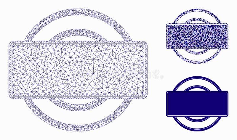 回合和长方形框架传染媒介滤网接线框模型和三角马赛克象 向量例证