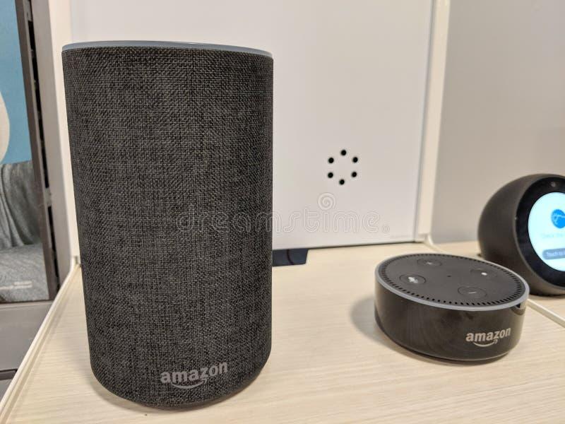 回声和回声小点( 第2个Generation)-与Alexa的聪明的报告人- 免版税图库摄影