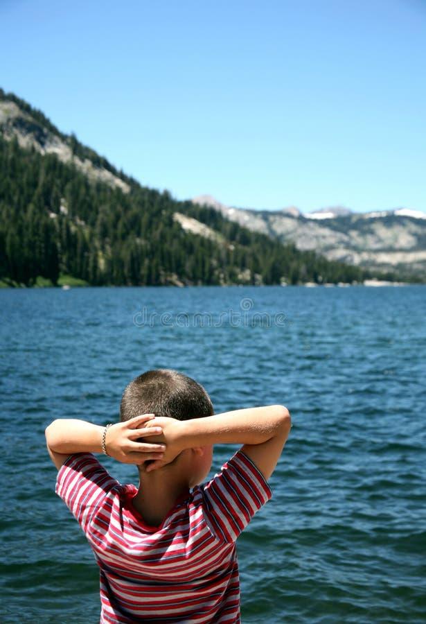 回声湖看守人 库存照片