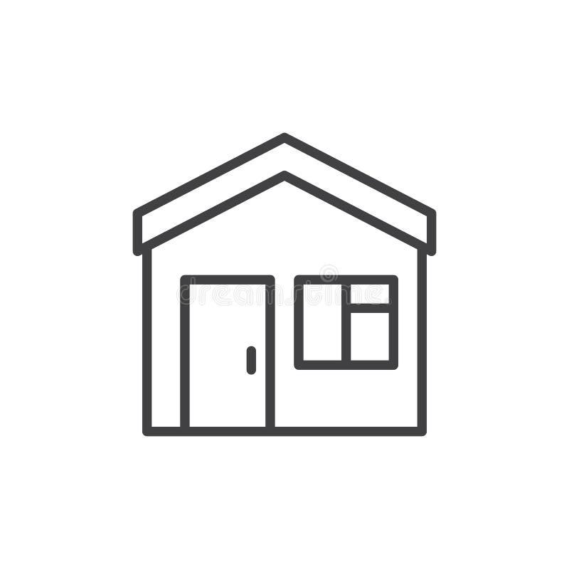 回家,房子线象,概述传染媒介标志,在白色隔绝的线性样式图表 皇族释放例证