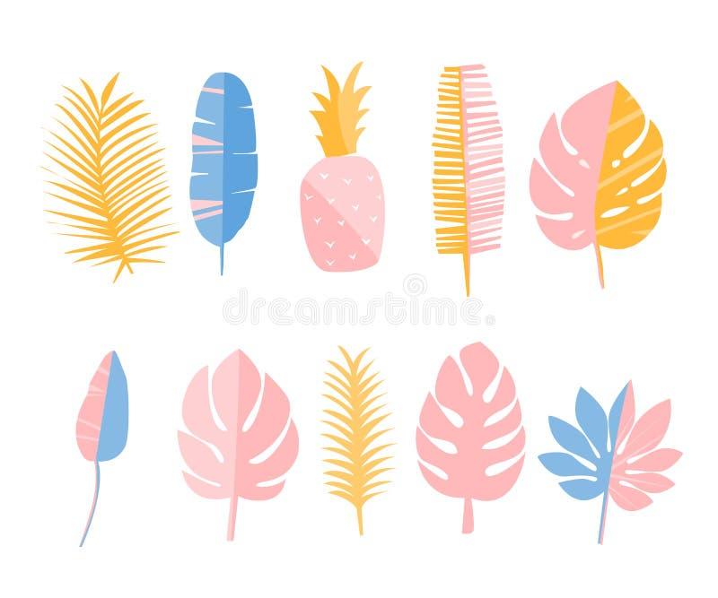 回归线叶子和菠萝 套平的例证、装饰元素卡片的,时尚印刷品和固定式 库存例证