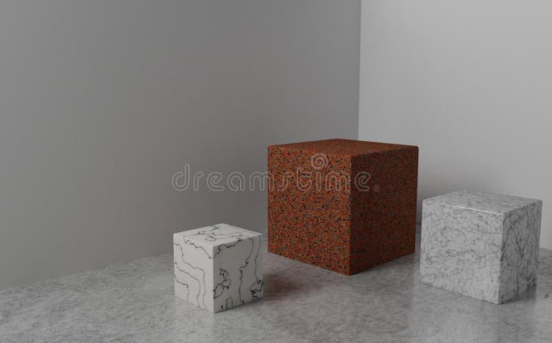 回报三个石立方体在一个轻的演播室 大理石和花岗岩 向量例证