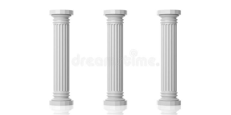 回报三根白色大理石柱子的3d 向量例证