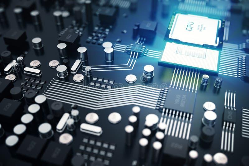 回报中央计算机处理器CPU概念的3d 计算机科技的电子工程师 计算机板芯片 皇族释放例证