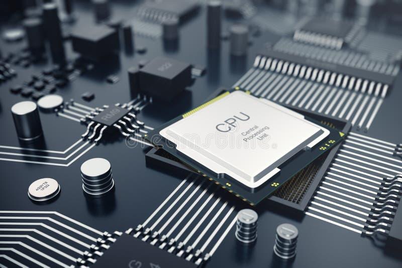 回报中央计算机处理器CPU概念的3d 计算机科技的电子工程师 计算机板芯片 向量例证