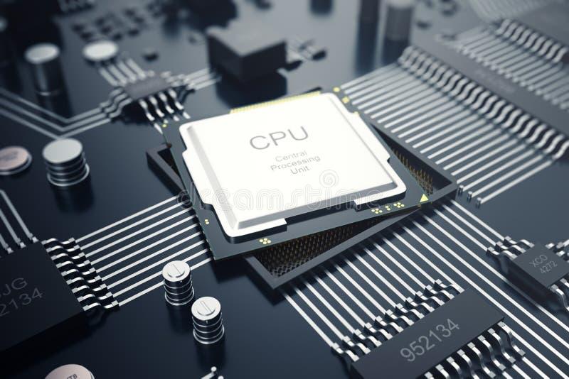 回报中央计算机处理器CPU概念的3d 计算机科技的电子工程师 计算机板芯片 库存例证