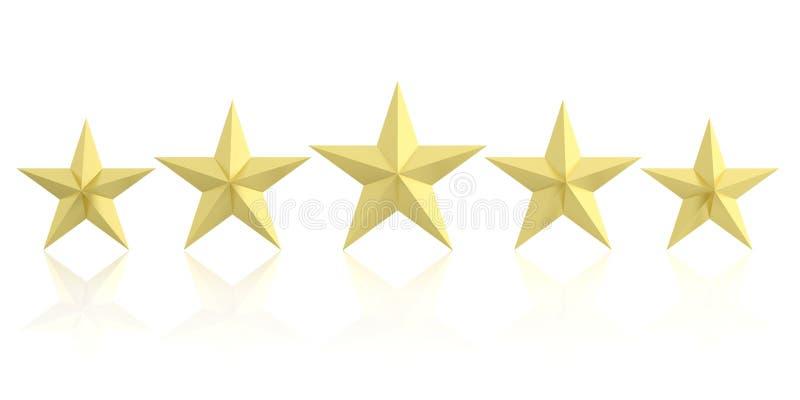 回报五个金黄星的3d 向量例证