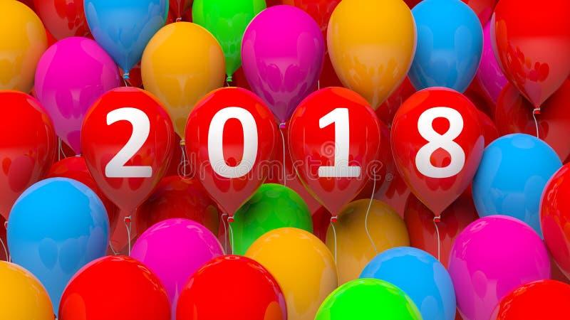回报五颜六色的气球的3D与2018个新年 皇族释放例证