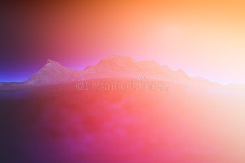 回报光泄漏的3d在山谷回报风景背景 皇族释放例证