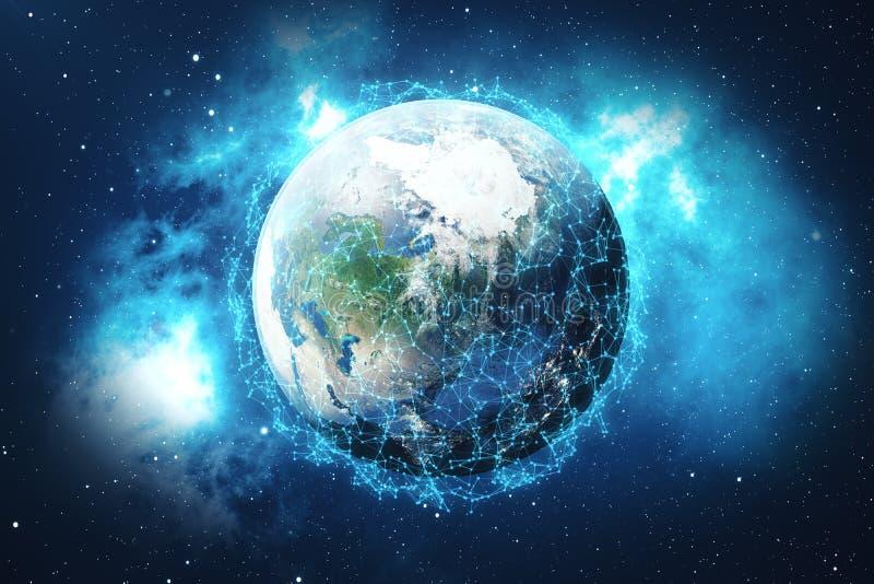 回报全球网络背景的3d 与小点的连接线在地球地球附近