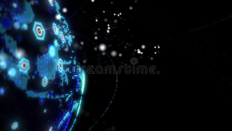 回报卫星starlink网络,数字地球数据地球-连接的抽象3D世界 卫星创造 库存例证