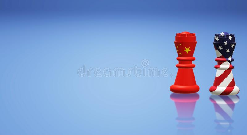 回报国王棋中国对美国贸易战概念的3d 皇族释放例证