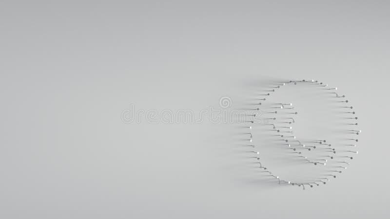 回报在云彩形状的3D各种各样的金属钉子  库存例证