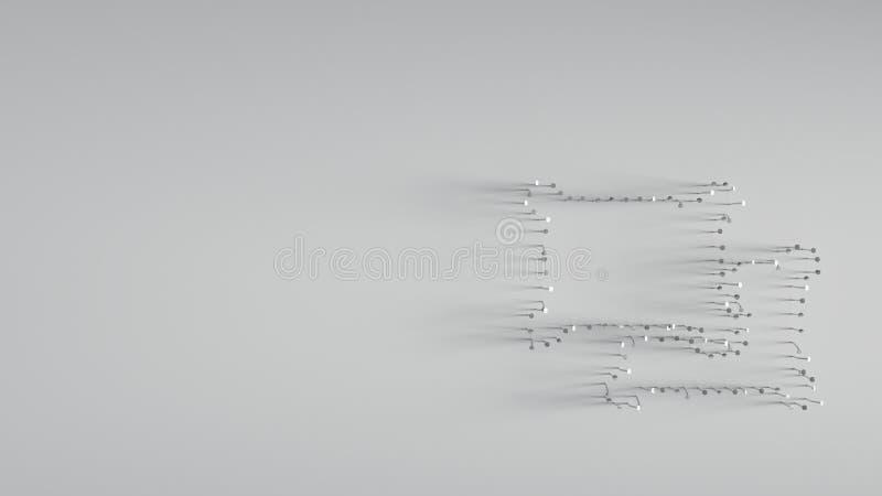 回报在对象形状的3D各种各样的金属钉子ungroup 皇族释放例证