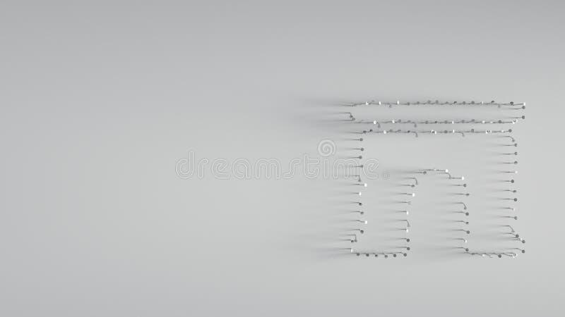 回报在拱道形状的3D各种各样的金属钉子  库存例证