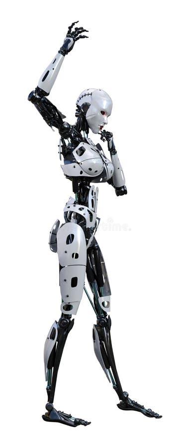 回报在白色的3D女性机器人 向量例证