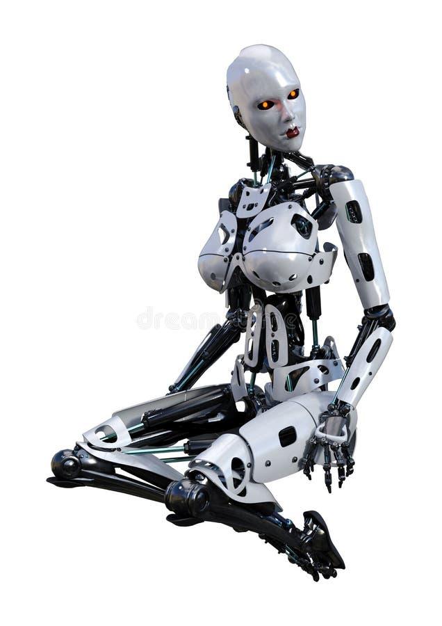 回报在白色的3D女性机器人 皇族释放例证