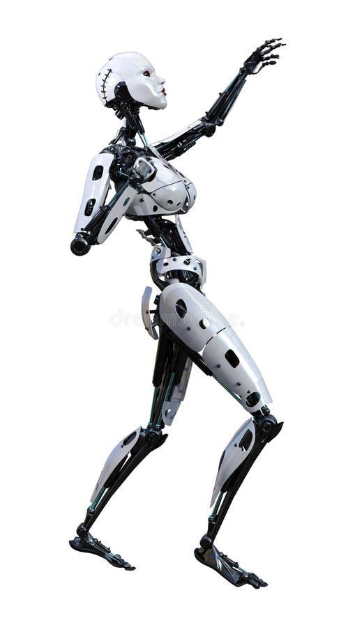 回报在白色的3D女性机器人 库存例证