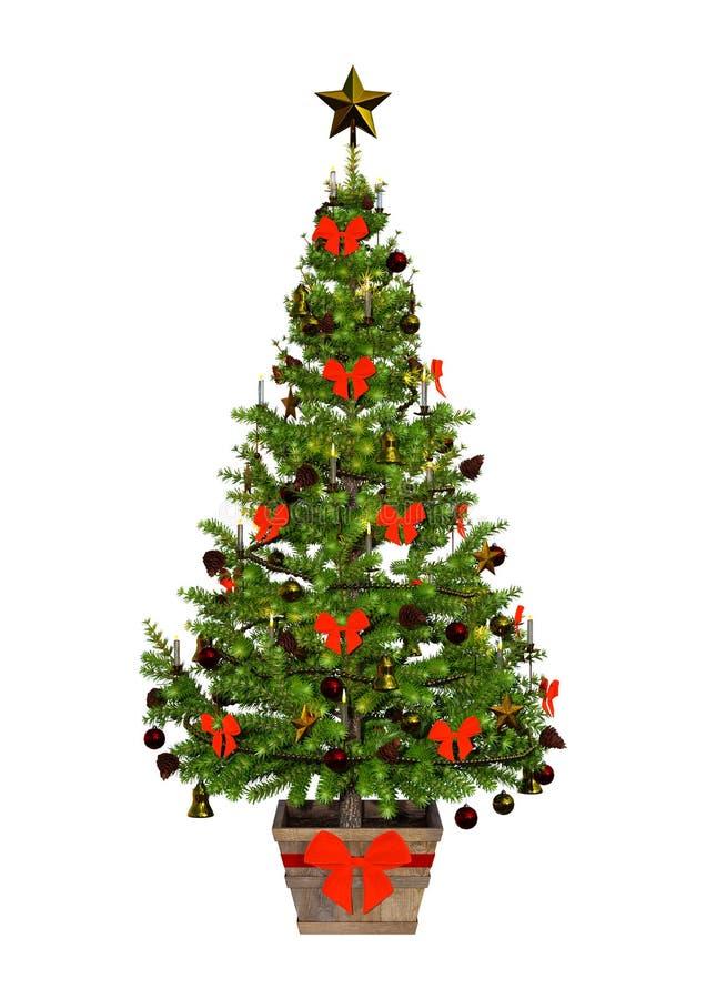 回报在白色的3D维多利亚女王时代的圣诞树 向量例证