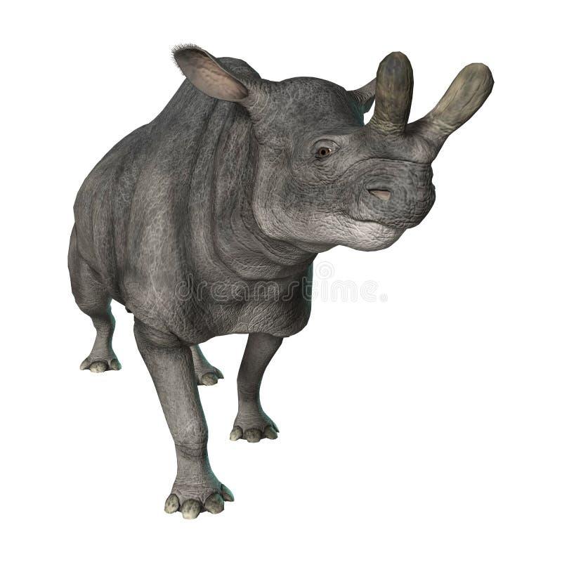 回报在白色的3D Brontotherium 皇族释放例证