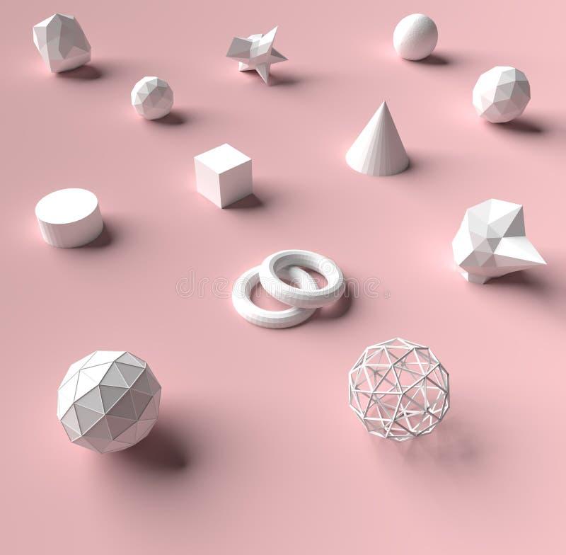 回报在粉色背景和纹理的3d几何 库存照片