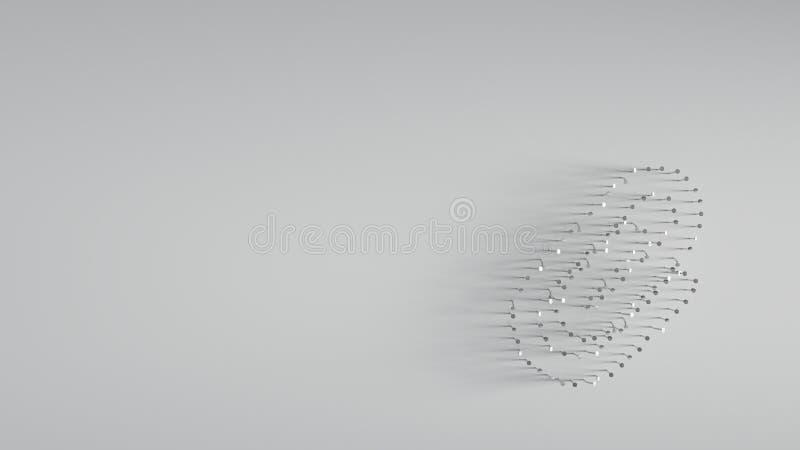 回报在纸夹形状的3D各种各样的金属钉子  皇族释放例证