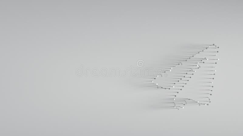 回报在纸飞机形状的3D各种各样的金属钉子  库存例证