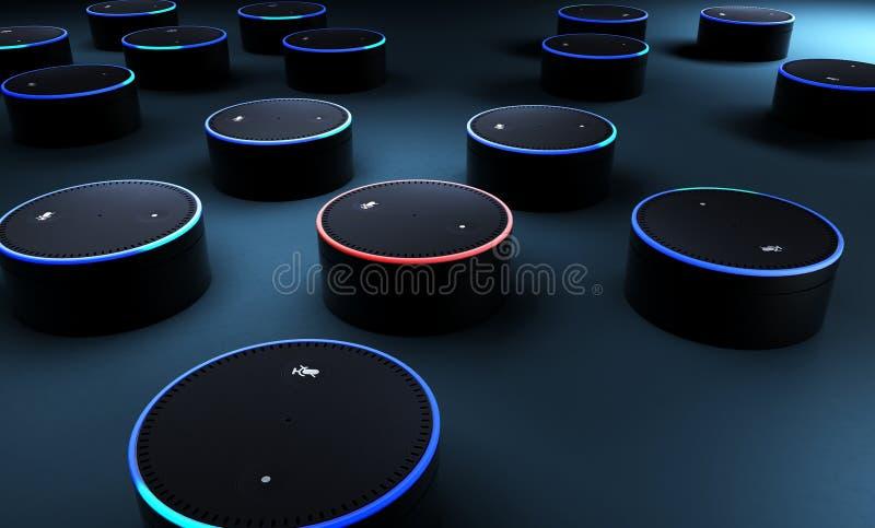 回报在蓝色地面的3d很多声音识别系统 库存照片