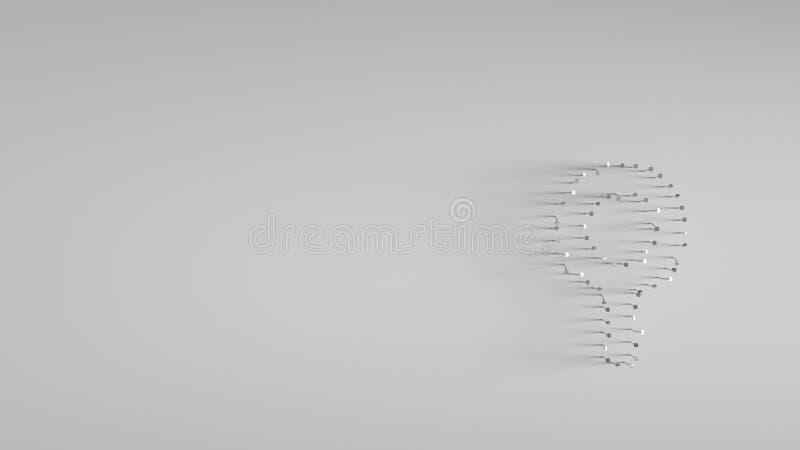 回报在金属探测器形状的3D各种各样的金属钉子  库存例证
