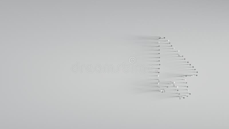 回报在鼠标形状的3D各种各样的金属钉子  皇族释放例证