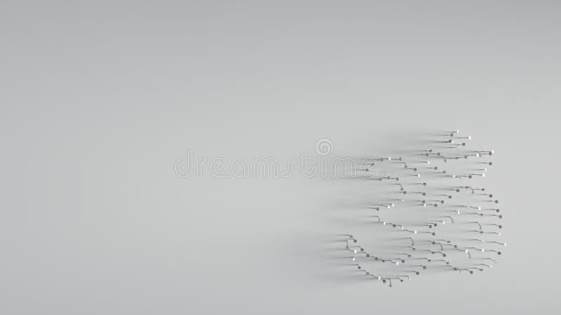 回报在om标志形状的3D各种各样的金属钉子  向量例证