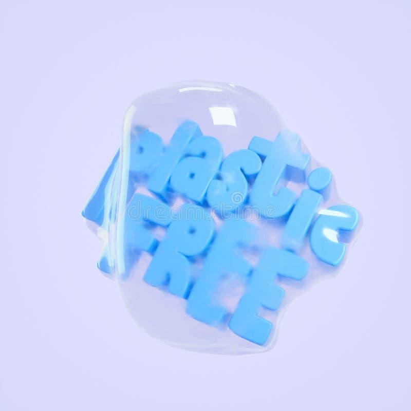 回报字法的塑料自由3d例证 保存行星概念 免版税库存照片