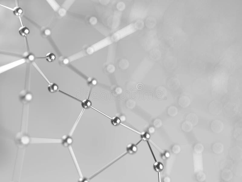 回报小点和线的抽象未来派背景3D 与一个混乱结构的分子化合物 库存例证