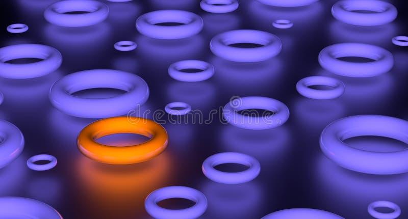 回报小组发光的紫罗兰色花托和一个桔子 在黑色背景 向量例证