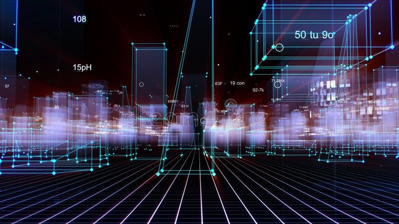 回报技术数字背景的3D包括有数据的一个未来派城市 向量例证