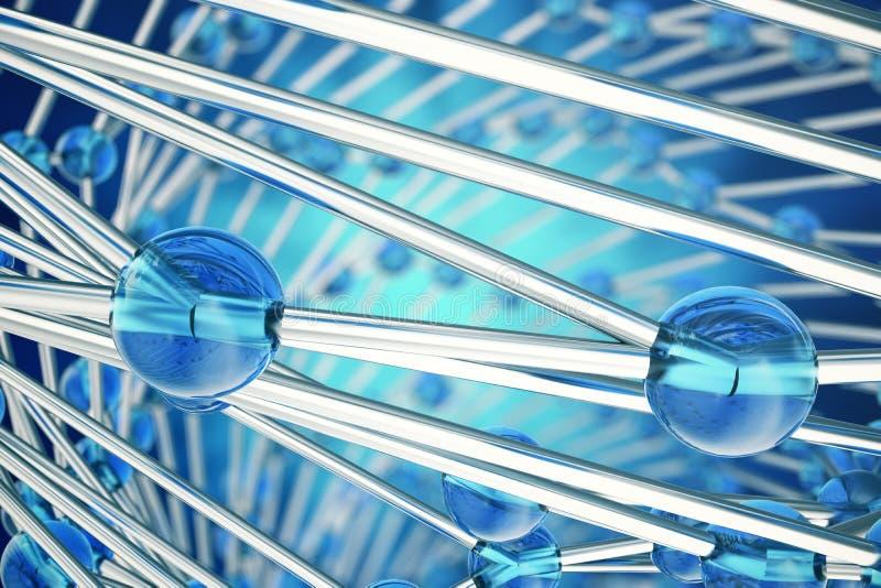 回报抽象分子设计的3D 雾化器 横幅或飞行物的医疗背景 与蓝色的分子结构 皇族释放例证