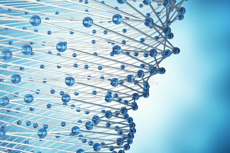 回报抽象分子设计的3D 雾化器 横幅或飞行物的医疗背景 与蓝色的分子结构 库存例证