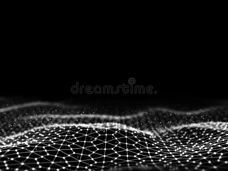 回报抽象未来派小点和线的3d 计算机几何数字式连接结构 未来派蓝色抽象栅格 皇族释放例证