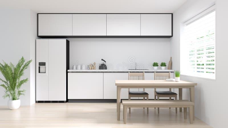 回报拷贝空间的洁净室厨房内部烹调现代食物餐馆3d白色现代设计家庭背景 库存图片