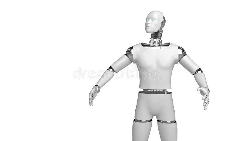 回报有人的特点的机器人的3d认为和选择某事机器人在白色背景的点对象 皇族释放例证
