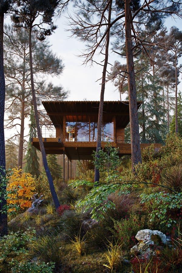 回报木房子树上小屋的3D在森林早晨 库存照片