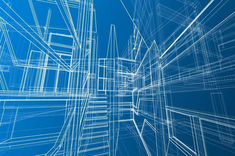 回报梯度蓝色的建筑学内部spae设计观念3d透视白色wireframe 库存例证