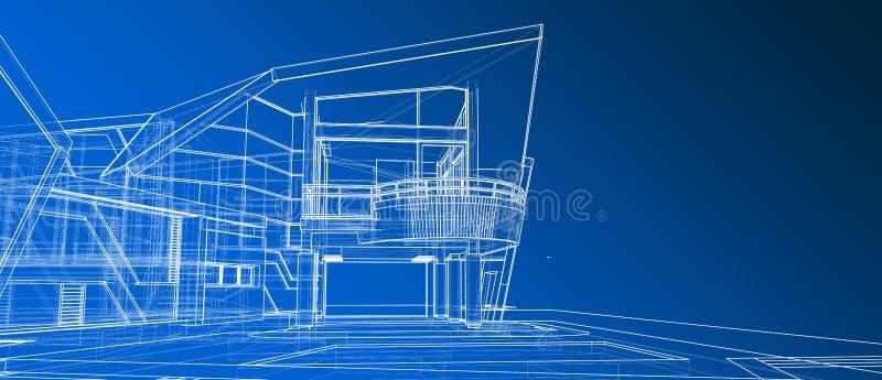 回报梯度蓝色背景的建筑学外部门面设计观念3d透视白色wireframe 库存例证