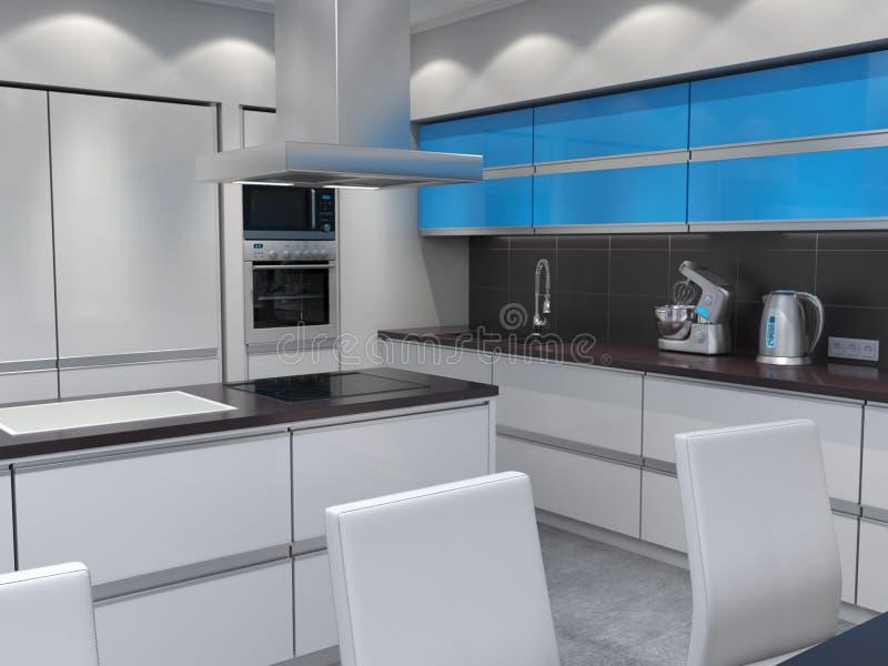 回报现代厨房的3d 库存例证