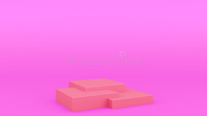 回报现代minimalistic嘲笑的箱子几何指挥台紫色场面最小的3d,空白的模板,空的陈列室 向量例证