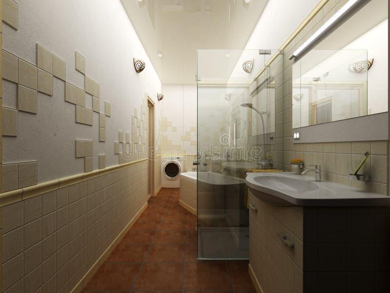 回报现代卫生间室内设计 库存照片